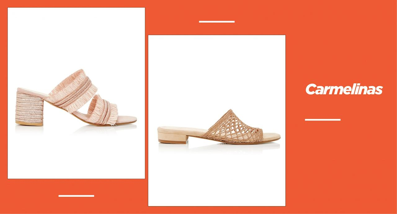 """<p><strong>Origin:</strong> Between Madrid and Elba, Spain<br /><strong>Style:</strong> Choose from rosy-pink fringe-style mules, netted beige slides, mint-green sandals, and metallic block heels, any of which make ideal vacation footwear. <br /><strong>Price:</strong> Starting at $123<br /><strong>Shop: </strong>Available at <a rel=""""nofollow"""" href=""""https://carmelinashoes.com/collections/all-shoes"""">carmelinashoes.com</a><br />(Photo: Carmelinas) </p>"""