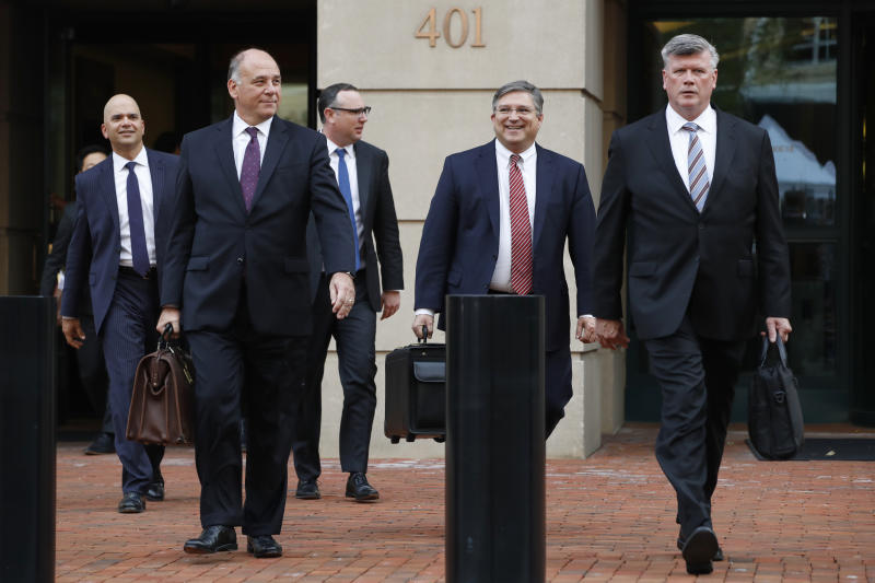 Members of the defense team for Paul Manafort, from left, Jay Nanavati, Thomas Zehnle, Brian Ketcham, Richard Westling, and Kevin Downing, leave federal court after closing arguments and jury instructions ended in the trial of the former Donald Trump campaign chairman, in Alexandria, Va., Wednesday, Aug. 15, 2018. (AP Photo/Jacquelyn Martin)