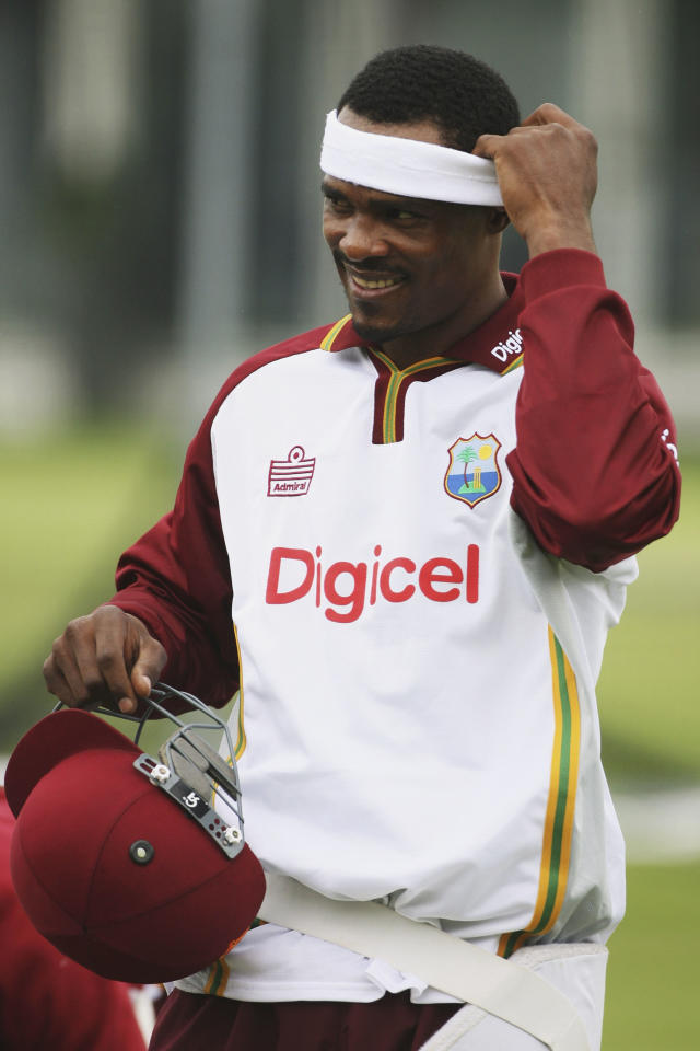 LONDON - MAY 16:  Runako Morton of West Indies adjusts his headband during a nets session prior to the first npower test match between England and West Indies at Lord's on May 16, 2007 in London, England.  (Photo by Clive Rose/Getty Images)