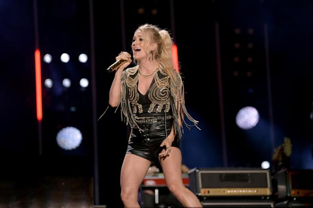 "Country music star Carrie Underwood and several others, including the NFL, are being sued by singer-songwriter who claims Underwood stole the ""Sunday Night Football"" theme song from her. (Getty Images)"