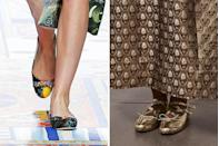 <p>The ballet flat is kind of the perfect shoe for 2020. The form-fitting shape is comfortable enough for long indoor wear but also keeps you nimble and able to keep moving while on the go. The Spring runways showed a flashier take, no doubt inspired by decadent interiors, with brocade patchwork (at Dolce & Gabbana, <em>left</em>) and burnished gold (at Simone Rocha, <em>right</em>). </p>