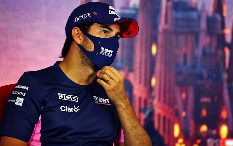 Sergio Perez of Mexico and Racing Point talks in the Drivers Press Conference during previews ahead of the F1 Grand Prix of Spain at Circuit de Barcelona-Catalunya on August 13, 2020 in Barcelona, Spain - Photo by Joao Beato/Pool via Getty Images