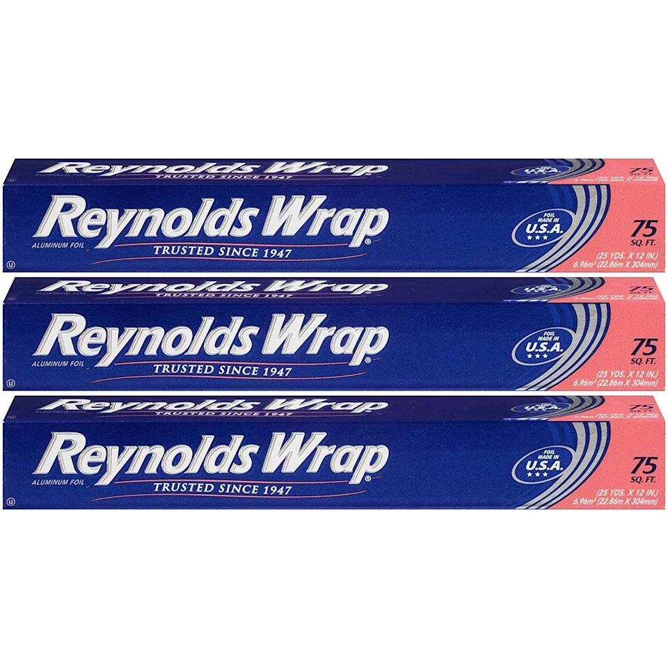 """<p><strong>Reynolds</strong></p><p>amazon.com</p><p><strong>$13.00</strong></p><p><a href=""""https://www.amazon.com/dp/B085T983KJ?tag=syn-yahoo-20&ascsubtag=%5Bartid%7C10048.g.35202518%5Bsrc%7Cyahoo-us"""" rel=""""nofollow noopener"""" target=""""_blank"""" data-ylk=""""slk:Shop Now"""" class=""""link rapid-noclick-resp"""">Shop Now</a></p><p>Aluminum foil is good for cooking, storing food, making funny hats, and about 100 other things. Bring some when you go camping.</p>"""