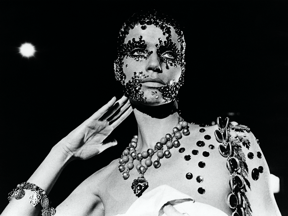<p>The iconic model (who stars in Acne's new Resort look book) had her face covered in crystals to play the lead role in the 1972 film <em>Salome.</em></p>