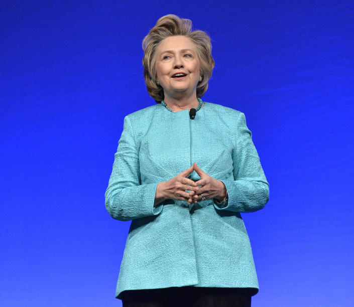 Former Secretary of State Hillary Clinton delivers the keynote address to the United Methodist Women Assembly at the Kentucky International Convention Center, Saturday, April 26, 2014, in Louisville, Ky. (AP Photo/Timothy D. Easley)