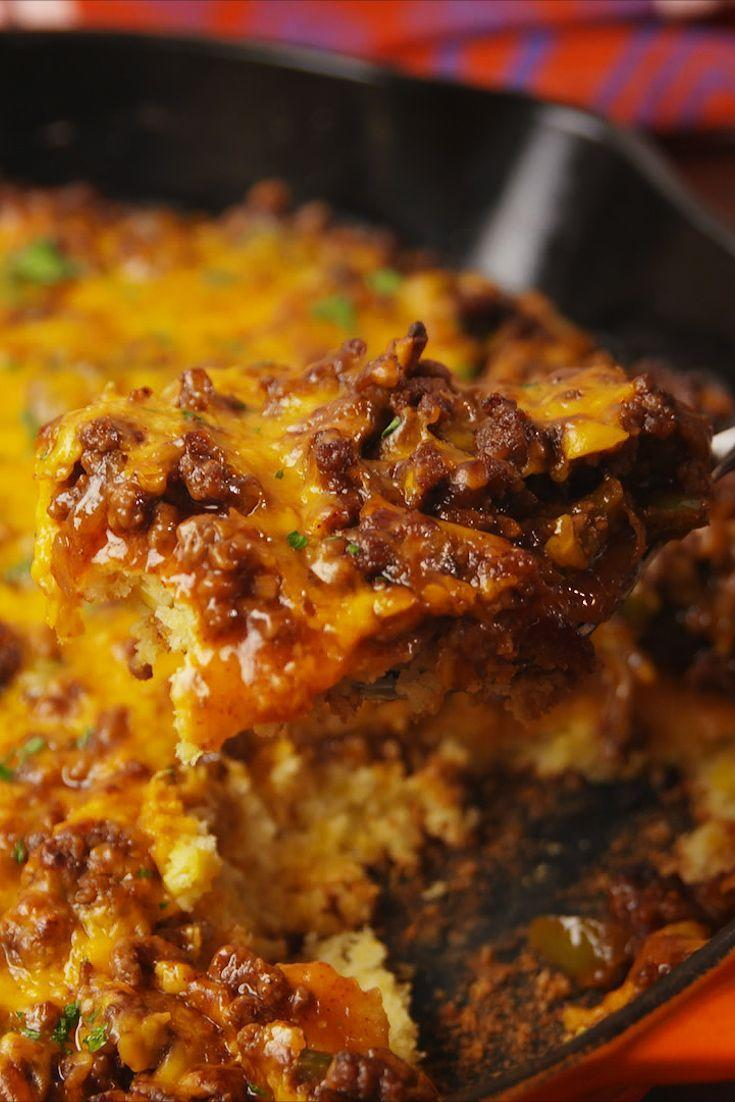 """<p>A Tex-Mex take on sloppy joes.</p><p>Get the recipe from <a href=""""https://www.delish.com/cooking/recipe-ideas/recipes/a55968/sloppy-joe-tamale-pie-recipe/"""" rel=""""nofollow noopener"""" target=""""_blank"""" data-ylk=""""slk:Delish"""" class=""""link rapid-noclick-resp"""">Delish</a>. </p>"""