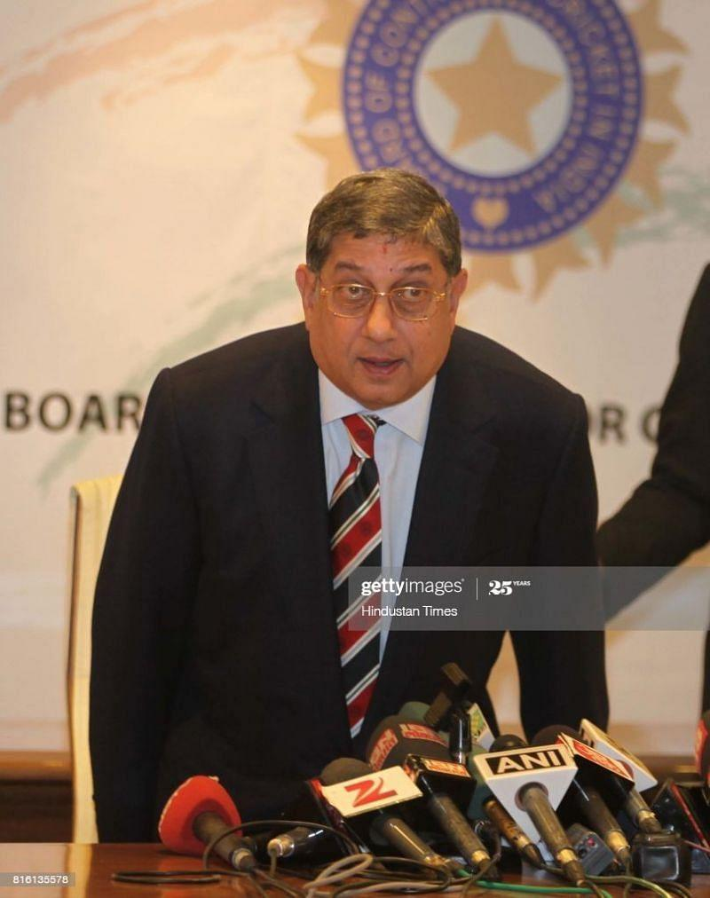 Former BCCI President N Srinivasan is eyeing the ICC hotspot (Picture courtesy Getty Images)
