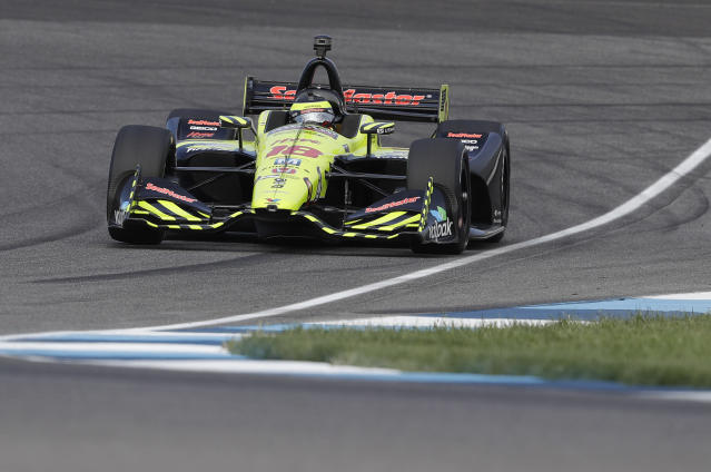 Sebastien Bourdais, of France, drives during a practice session for the IndyCar Grand Prix auto race at Indianapolis Motor Speedway in Indianapolis, Friday, May 11, 2018. (AP Photo/Darron Cummings)