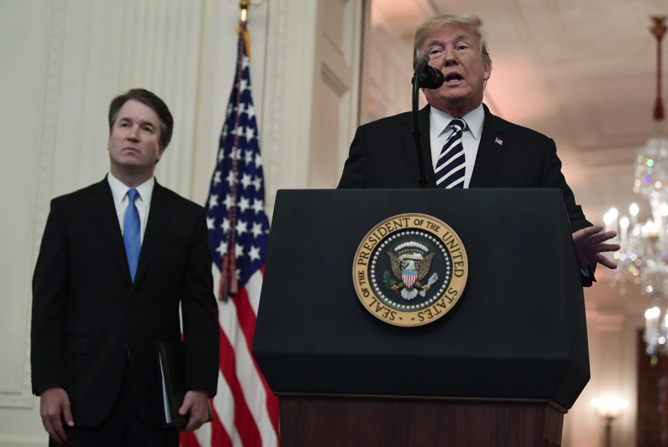 President Trump and new Supreme Court Justice Brett Kavanaugh at Monday's ceremony. (Photo: Susan Walsh/AP)
