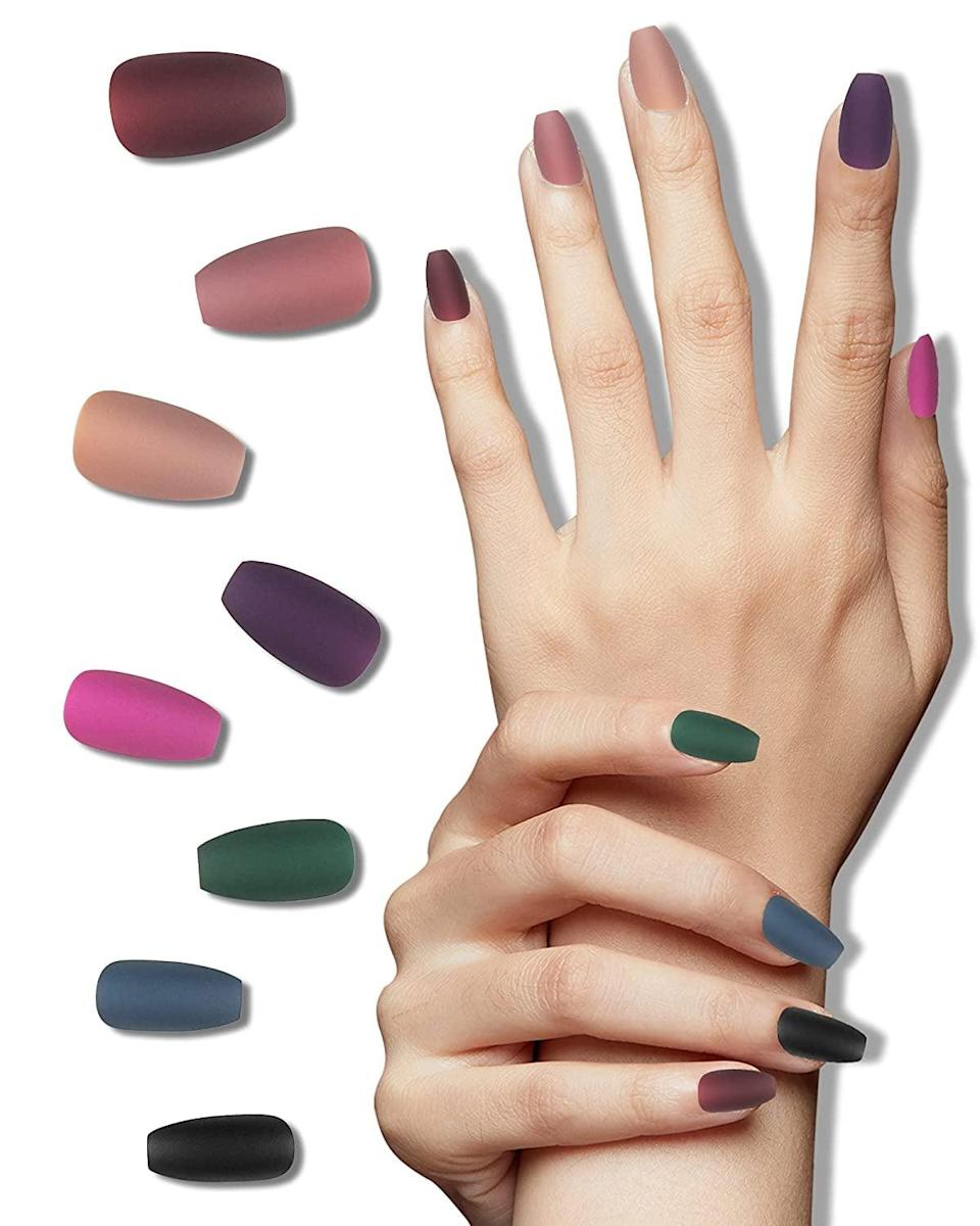 <p>The <span>LADYING 8-Pack Acrylic Matte Press Medium Short Length Coffin Nails</span> ($11, originally $19) comes with a total of 192 nails in eight different colors. From neutrals and browns to jewel tones you'll have the perfect fall mani all season long. </p>