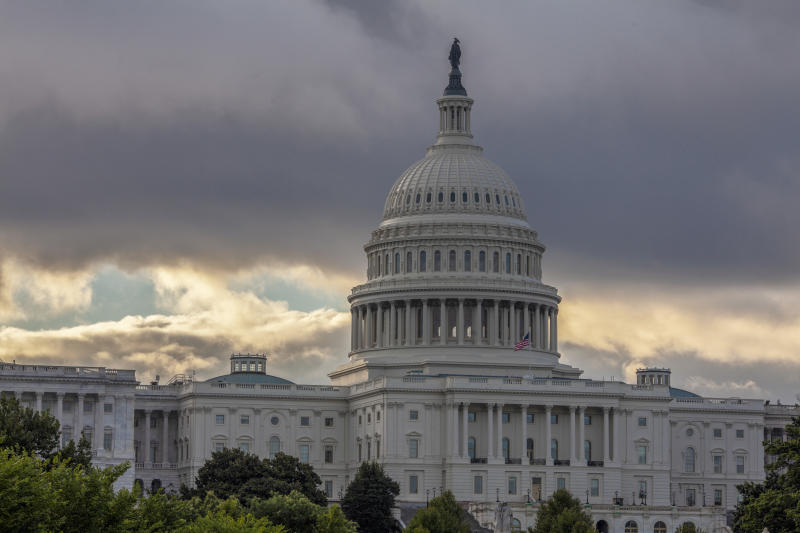 FILE - This Wednesday, Aug. 1, 2018, file photo shows the Capitol in Washington. As a potentially catastrophic hurricane heads for the Carolinas, Congress is moving to avert a legislative disaster that could lead to a partial government shutdown just weeks before the November midterm elections. (AP Photo/J. Scott Applewhite, File)