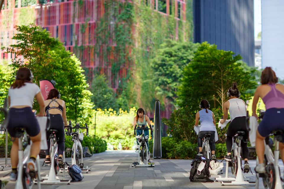 Put #U1st campaign: Sign up for your free Cycling or Body Combat class this Saturday. PHOTO: Under Armour
