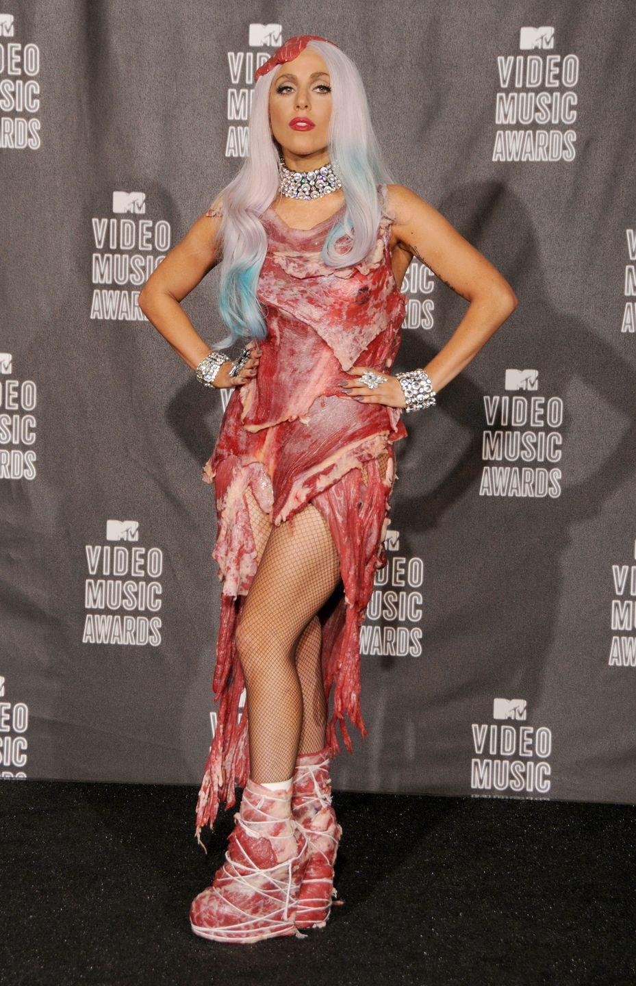 <p>Lady Gaga wore literal meat on her head, body, and feet to the VMAs in 2010. That is all. </p>
