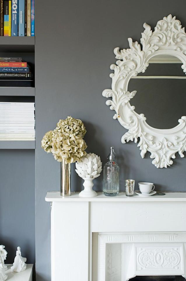 <p>Footed artichoke decor can bring a playful touch to your fall mantel display. Choose a white design to brighten your space. </p>