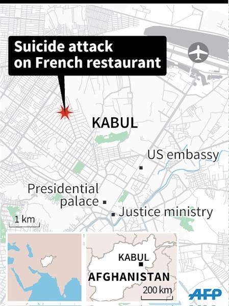 Map of central Kabul, locating suicide attack on French restaurant Le Jardin. 45 x 60 mm (AFP Photo/Iris Royer De Vericourt)