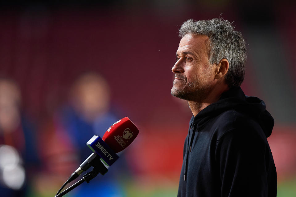 Luis Enrique head coach of Spain speaks during a TV Interview after the FIFA World Cup 2022 Qatar qualifying match between Spain and Greece at Estadio Nuevo Los Carmenes on March 25, 2021 in Granada, Spain. (Photo by Jose Breton/Pics Action/NurPhoto via Getty Images)