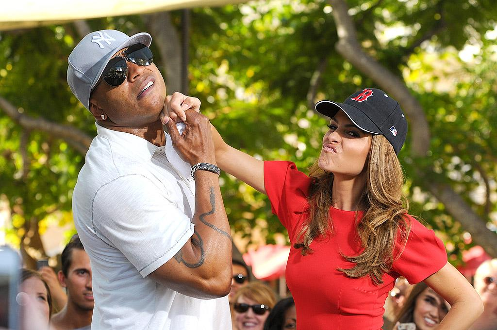 "LOS ANGELES, CA - OCTOBER 02:  LL Cool J (L) and Maria Menounos visit ""Extra"" at The Grove on October 2, 2012 in Los Angeles, California.  (Photo by Noel Vasquez/Getty Images for Extra)"