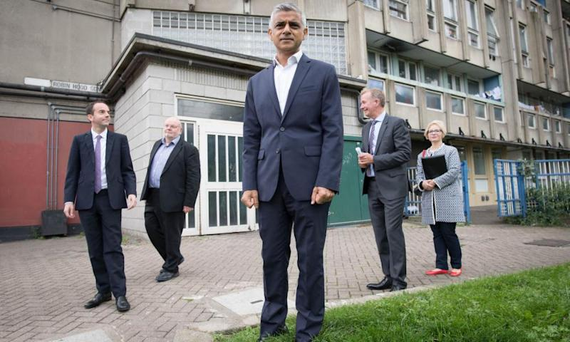 Sadiq Khan at the former Robin Hood Gardens estate in east London, which is being regenerated.