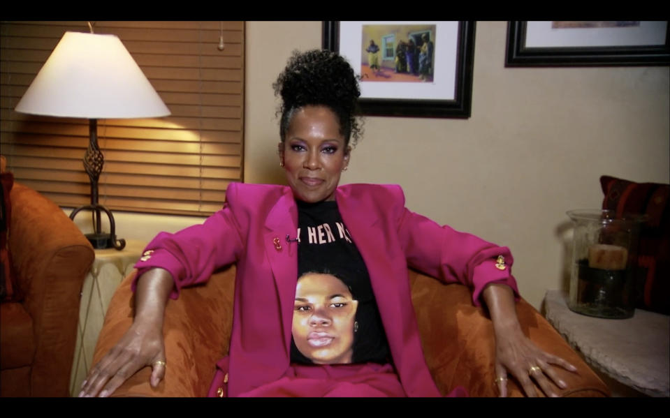 Regina King wears a shirt showing Breonna Taylor's name and face while remotely attending the 72nd Primetime Emmy Awards. (Getty Images)