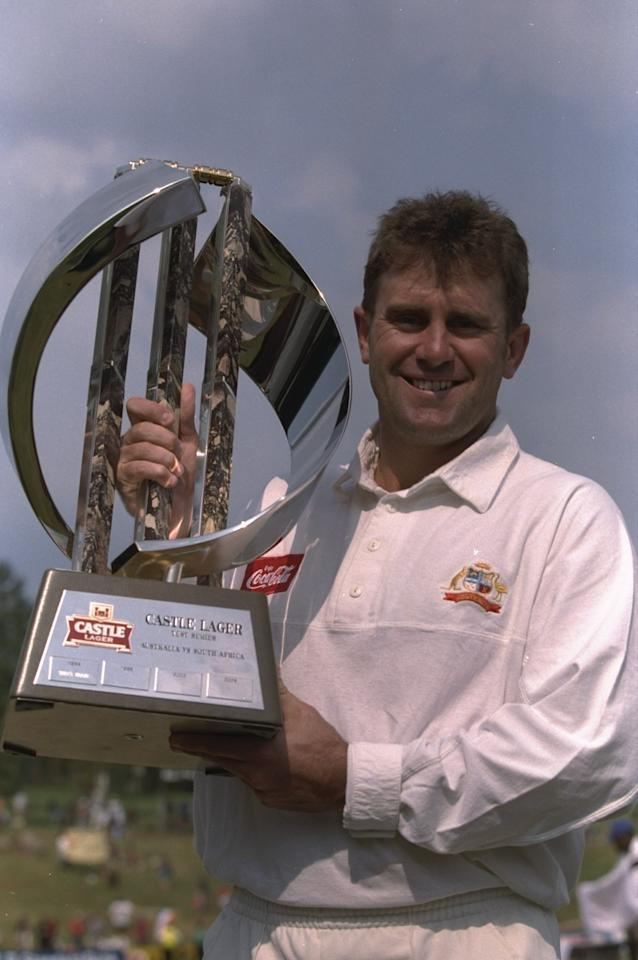 21-25 Mar 1997:  Captain of Australia Mark Taylor lifts the trophy after winnig the series at third test match held at Centurion Park in Pretoria, South Africa. \ Mandatory Credit: Mike Hewitt /Allsport