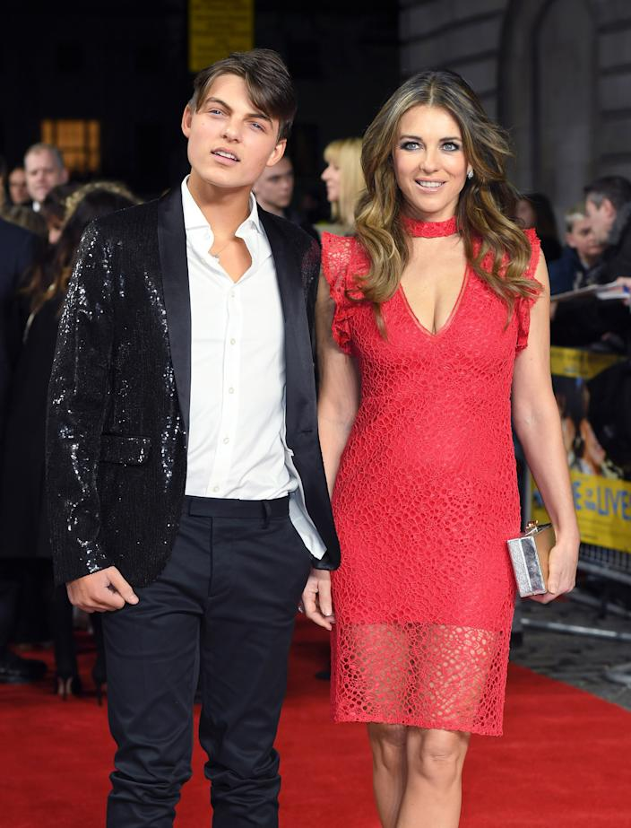 Damian Hurley and Elizabeth Hurley attend the World Premiere of 'The Time Of Their Lives' at the Curzon Mayfair on March 8, 2017 in London, United Kingdom.  (Photo by Karwai Tang/WireImage)