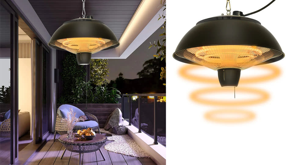 This light/heater combo installs easily on the ceiling. (Photo: Wayfair)