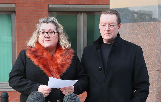 Lisa and Russell Squire, the parents of Libby Squire, speaking outside Sheffield Crown Court