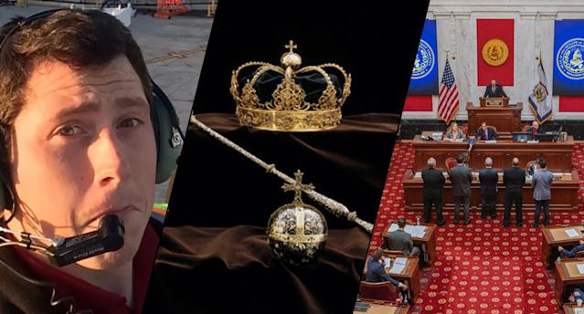 Richard Russell, Swedish crown jewels and the W.Va. Legislature. (Photos: YouTube/Handout via Reuters, Swedish Police via AP, Craig Hudson/Charleston Gazette-Mail via AP)
