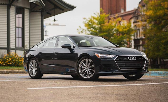"""<p>Like its more traditionally styled A6 sedan sibling, <a href=""""https://www.caranddriver.com/audi/a7"""" rel=""""nofollow noopener"""" target=""""_blank"""" data-ylk=""""slk:the 2019 Audi A7"""" class=""""link rapid-noclick-resp"""">the 2019 Audi A7 </a>(a so-called """"four-door coupe"""") comes with Audi's new MHEV system. <a href=""""https://www.caranddriver.com/news/a15341893/2018-audi-a8-to-feature-48-volt-hybrid-system/"""" rel=""""nofollow noopener"""" target=""""_blank"""" data-ylk=""""slk:As in the larger A8"""" class=""""link rapid-noclick-resp"""">As in the larger A8</a> listed earlier in this roundup, the MHEV delivers seamless engine restarts via its electric motor/generator and can deliver some torque to aid the engine at low speeds.<br></p>"""