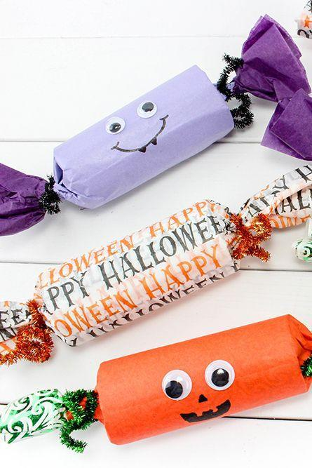 """<p>Start collecting those empty toilet paper tubes to turn into party poppers! Let your kids stuff them with their favorite Halloween candies and then decorate the outside.</p><p><strong>Get the tutorial at <a href=""""https://www.onionringsandthings.com/halloween-party-poppers/"""" rel=""""nofollow noopener"""" target=""""_blank"""" data-ylk=""""slk:Onion Rings and Things"""" class=""""link rapid-noclick-resp"""">Onion Rings and Things</a>.</strong> </p>"""