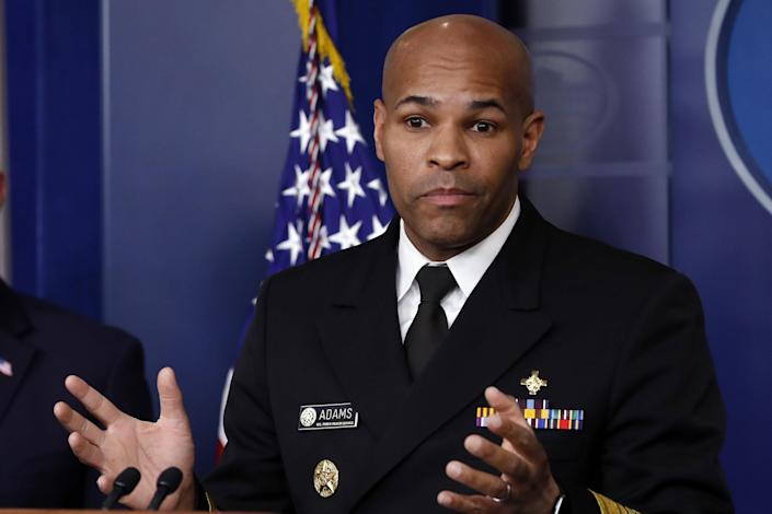 U.S. Surgeon General Jerome Adams speaks about the coronavirus in the James Brady Press Briefing Room of the White House, Friday, April 3, 2020, in Washington.