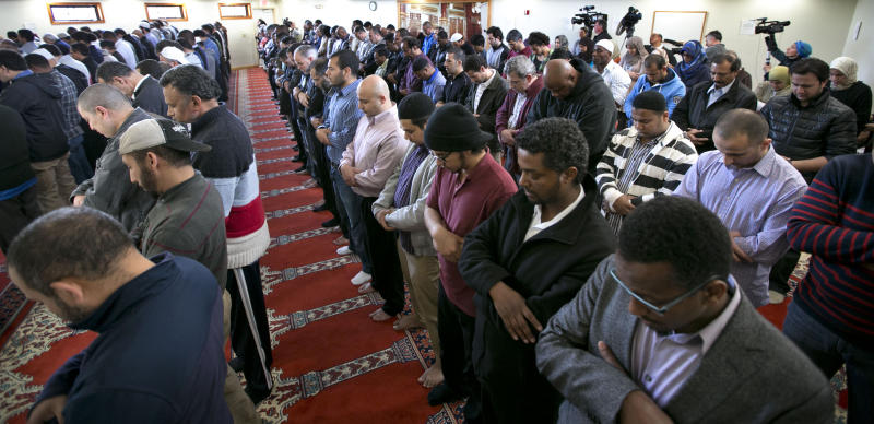 Worshioppers stand during a prayer service at the Islamic Society of Boston mosque, Friday, April 26, 2013, in Cambridge, Mass. Leaders of the Islamic Society of Boston said Tamerlan Tsarnaev occasionally attended Friday prayers, but had protested the community's moderate approach. (AP Photo/Robert F. Bukaty)