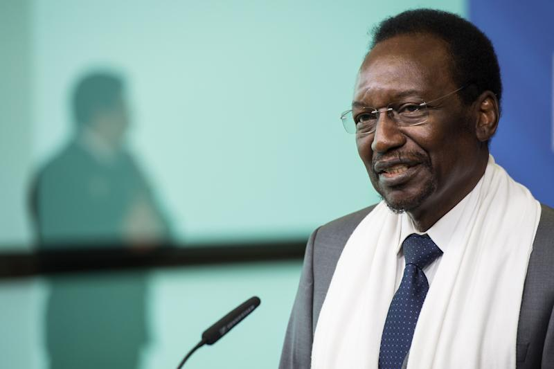 Mali's President Dioncounda Traore addresses the media after a meeting with European Commission President Jose Manuel Barroso, not seen, at the European Commission headquarters in Brussels on Tuesday May 14, 2013. (AP Photo/Geert Vanden Wijngaert)