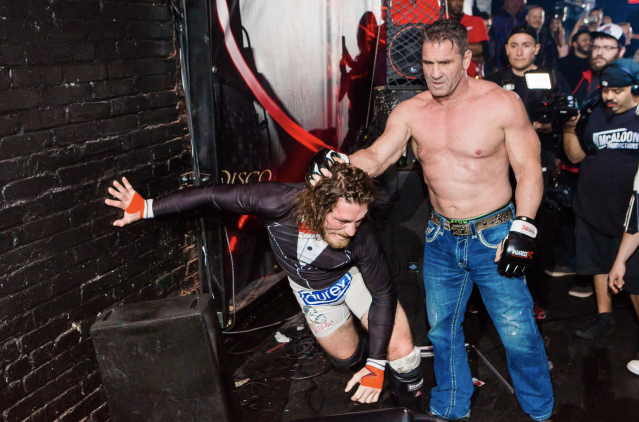 "Ken Shamrock, right, took on Tom ""Filthy"" Lawlor in the main event of the evening. (Courtesy of McAloon Productions)"