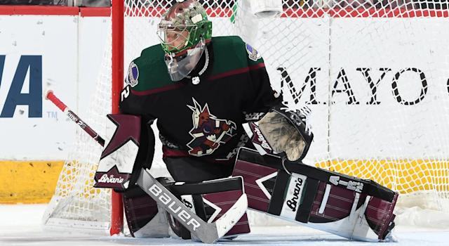 Antti Raanta #32 of the Arizona Coyotes was injured in Friday's game against the Carolina Hurricanes. (Photo by Norm Hall/NHLI via Getty Images)