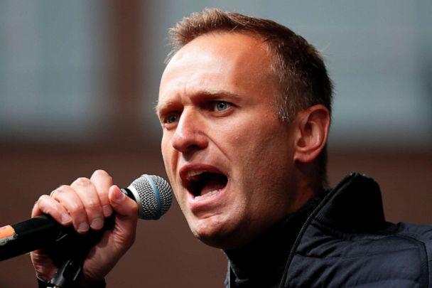 PHOTO: Russian opposition leader Alexei Navalny delivers a speech during a rally to demand the release of jailed protesters, who were detained during opposition demonstrations for fair elections, in Moscow, Sept. 29, 2019. (Shamil Zhumatov/Reuters)