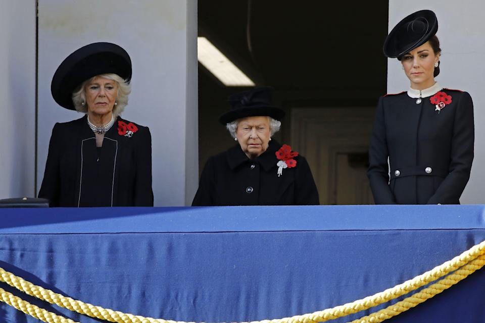The Queen was accompanied by the Duchess of Cornwall and Duchess of Cambridge on the balcony during the service (Getty)
