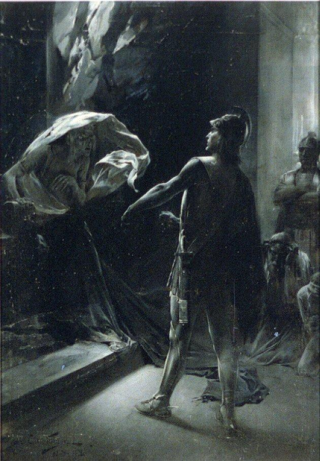 Alexander the Great coercing the Delphian Oracle in an oil painting from 1898 by Andre Castaigne. The warrior king's grave has never been found
