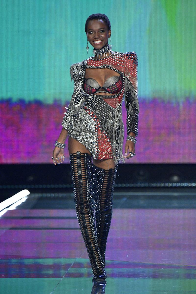 SHANGHAI, CHINA - NOVEMBER 20: Herieth Paul walks the runway during the 2017 Victoria's Secret Fashion Show In Shanghai at Mercedes-Benz Arena on November 20, 2017 in Shanghai, China. (Photo by Matt Winkelmeyer/Getty Images for Victoria's Secret)