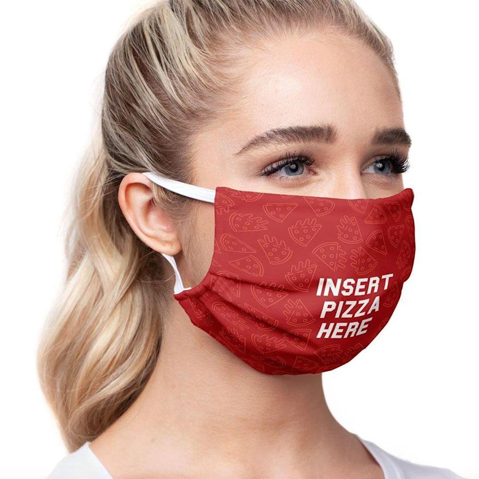 """<p><strong>MaskClub</strong></p><p>maskclub.com</p><p><strong>$14.99</strong></p><p><a href=""""https://maskclub.com/products/delish-insert-pizza-here-face-mask"""" rel=""""nofollow noopener"""" target=""""_blank"""" data-ylk=""""slk:Shop Now"""" class=""""link rapid-noclick-resp"""">Shop Now</a></p><p>Can't wait for your favorite pizza joint to reopen? In the meantime, purchase a protective mask in honor of your favorite food, or sign up for MaskClub's subscription program to receive a new mask every month. </p><p>With every sale, they'll donate a medical-grade mask to first responders, medical personnel, and their families through the <a href=""""https://1strcf.org/"""" rel=""""nofollow noopener"""" target=""""_blank"""" data-ylk=""""slk:First Responders Children's Foundation"""" class=""""link rapid-noclick-resp"""">First Responders Children's Foundation</a>.</p>"""