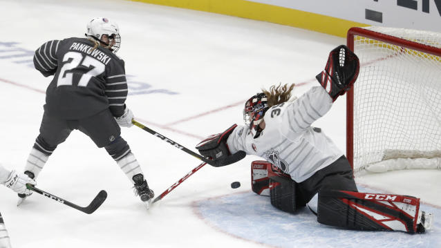 Canada goalie Ann-Renee Desbiens (35) stops a United States' Annie Pankowski (27) shot during the first period in the women's 3-on-3 game, part of the NHL hockey All-Star weekend, Friday, Jan. 24, 2020, in St. Louis. (AP Photo/Jeff Roberson)