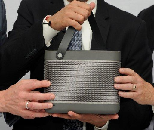 A Bang and Olufsen Beolit 12 portable speaker at a promotion in New Delhi on April 11, 2012