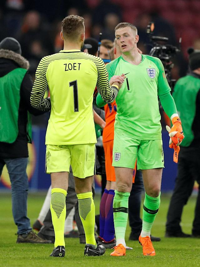 Soccer Football - International Friendly - Netherlands vs England - Johan Cruijff Arena, Amsterdam, Netherlands - March 23, 2018 England's Jordan Pickford and Netherlands' Jeroen Zoet after the match Action Images via Reuters/John Sibley