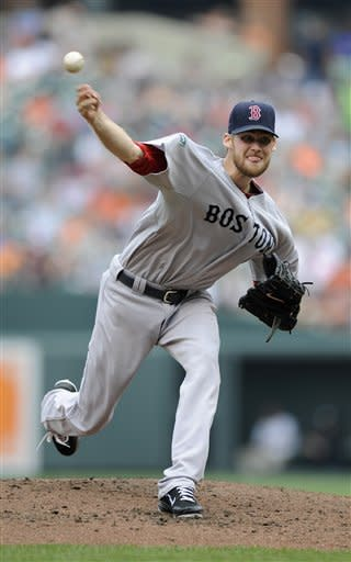 Boston Red Sox starter Daniel Bard delivers a pitch against the Baltimore Orioles during the third inning of a baseball game, Wednesday, May 23, 2012, in Baltimore. (AP Photo/Nick Wass)