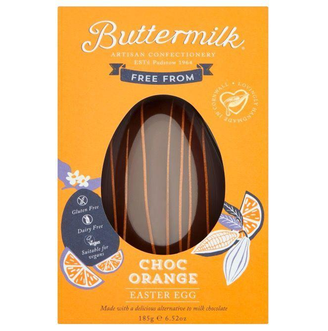 """<p>A delicious chocolate alternative egg, free from dairy, gluten and wheat, and flavoured with orange oil. So basically a Terry's chocolate orange, but vegan and shaped like an egg. Yum!<br></p><p>Buttermilk Free From Choc Orange Easter Egg, £6, Sainsbury's</p><p><a class=""""link rapid-noclick-resp"""" href=""""https://www.sainsburys.co.uk/shop/ProductDisplay?storeId=10151&productId=1246726&urlRequestType=Base&catalogId=10122&langId=44"""" rel=""""nofollow noopener"""" target=""""_blank"""" data-ylk=""""slk:BUY NOW"""">BUY NOW</a><br></p>"""
