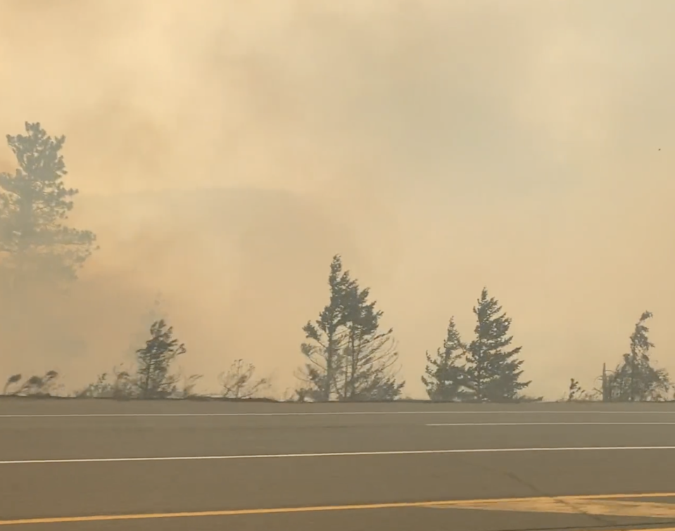 Smoke clouded the air in Lytton, which was evacuated on Wednesday due to wildfires (2 Rivers Remix Society/Vimeo)