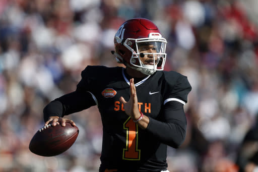 South quarterback Jalen Hurts of Oklahoma (1) throws a pass during the first half of the Senior Bowl college football game Saturday, Jan. 25, 2020, in Mobile, Ala. (AP Photo/Butch Dill)