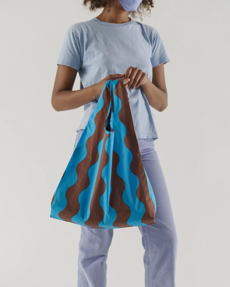 """Obviously, she uses reusable tote bags. <br><br><strong>Baggu</strong> Standard Baggu, $, available at <a href=""""https://go.skimresources.com/?id=30283X879131&url=https%3A%2F%2Fbaggu.com%2Fcollections%2Freusable-bags%2Fproducts%2Fstandard-baggu-teal-and-brown-wavy-stripe-l"""" rel=""""nofollow noopener"""" target=""""_blank"""" data-ylk=""""slk:Baggu"""" class=""""link rapid-noclick-resp"""">Baggu</a>"""