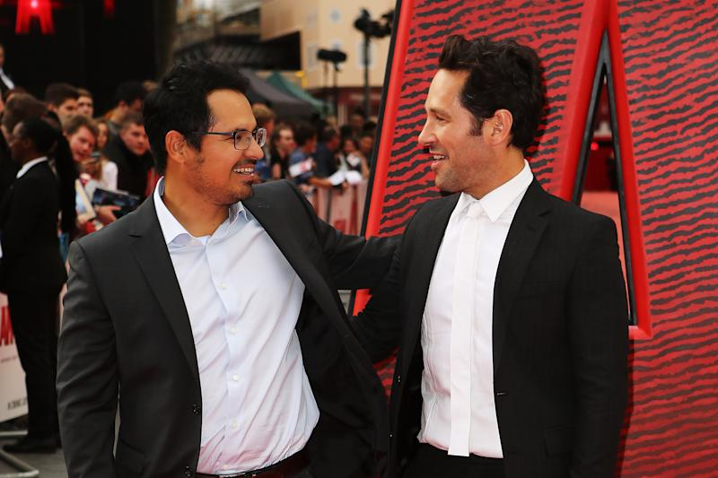 "LONDON, ENGLAND - JULY 08: Paul Rudd(R) and Michael Pena attend the European Premiere of Marvel's ""Ant-Man"" at Odeon Leicester Square on July 8, 2015 in London, England. (Photo by David M. Benett/Dave Benett/WireImage)"