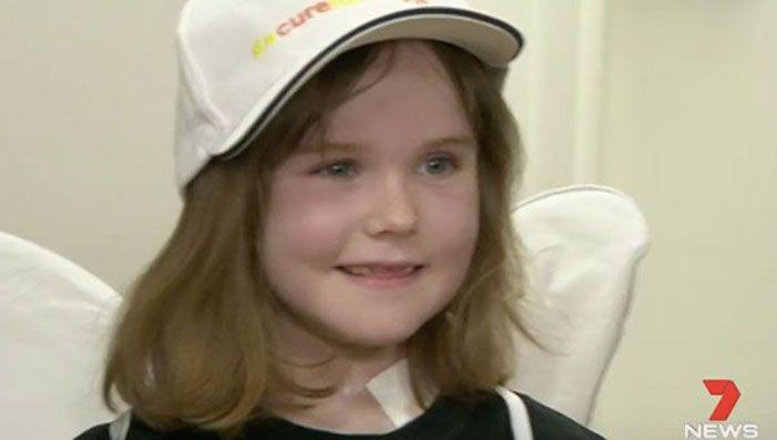 Freyja Christiansen is all smiles and recovering well after the Australia-first robotic surgery. Source: 7 News